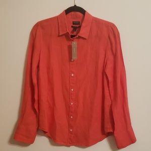 J Crew 100% Linen Coral Shirt...6